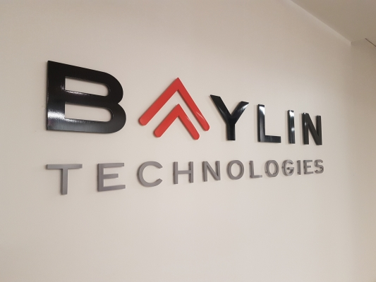 3D cut out aluminium logo painted to match the colors BAYLIN