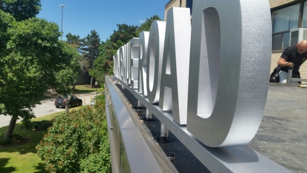 Brushed aluminium 3D freestanding letters 1