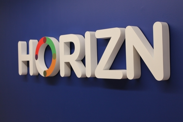 Fabricated stainless steel cut out letters HORIZN