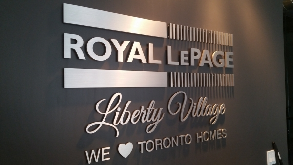 Royal Lepage half inch solid brushed aluminium cut out letters, raised from the wall