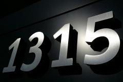 Brushed aluminium 3D letters 1350