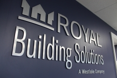 Brushed aluminium 3D letters Royal