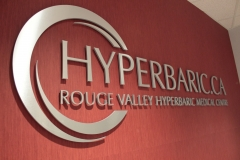 Brushed aluminium cu out letters raised from the wall