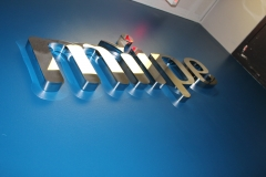 Fabricated polished stainless steal letters Miipe