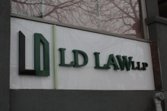 Fabricated stainless steel 3D letters LD LAW LLP.