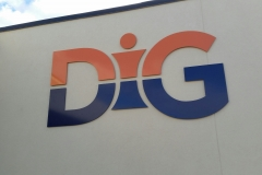 Painted aluminium 3D letters DIG