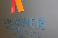 Painted cut out logo installed raised from the wall SO ASHER