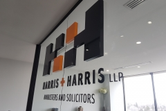 Raised 3D cut letters installed flush to the glass wall H