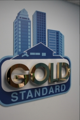 Polished gold letters on 3D raised print-