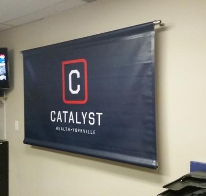Hanging vinyl banner
