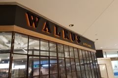 Fabricated stainless steel letters LED illuminated from the back WALRUS