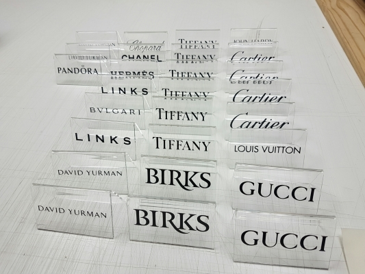 Custom clear acrylic brand names stands