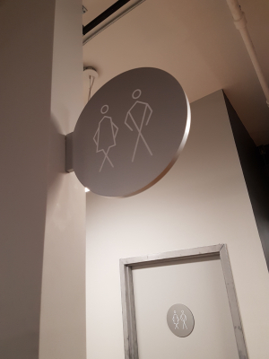 Custom double sided washroom signs
