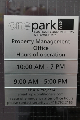 One park brushed aluminium sign