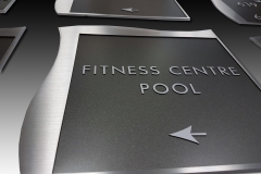 Custom brushed steel interior signs for Rogers Centre Luxury Hotel Suites  Renaissance Toronto Downtown
