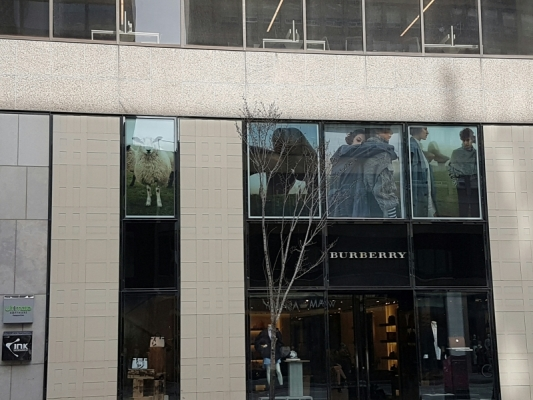 BURBERRY reversed full color printed graphics on a windows