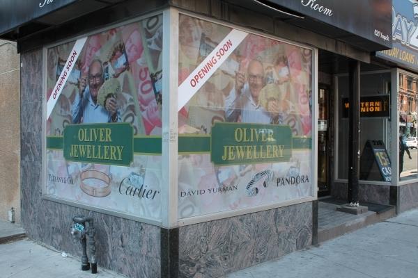 Perforated window grapgics oliver jewellery
