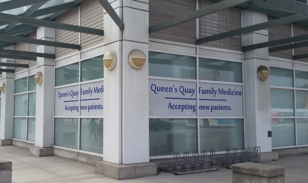 Qeen's Quay color print on a perforated vinyl