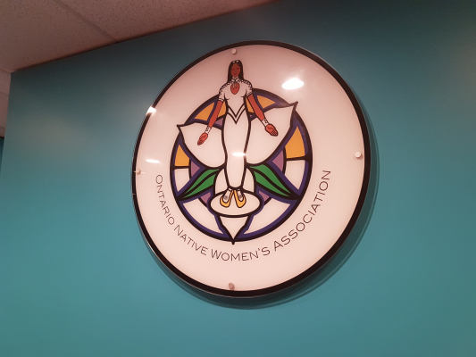 Custom acrylic reception sign for Ontario Native Women's Association (ONWA)
