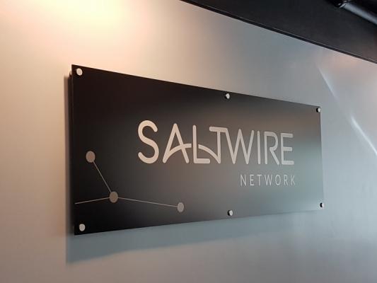 Matte aluminium reception sign Saltwire