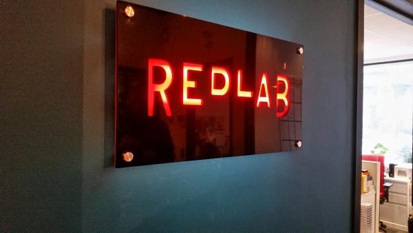 Reception sign LED illuminated REDLAB