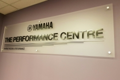 Frosted acrylic reception sign with 3D raised letters for YAMAHA CANADA.