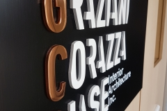 Polished copper 3D raised metal reception sign