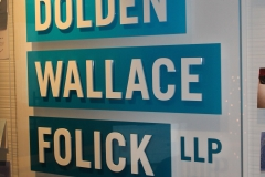 Reception sign Dolden Wallace Folick llp