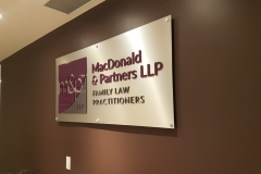 Reception sign, brushed aluminium backer with 3D raised graphics MC