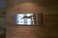 Solid stainless steel reception sign