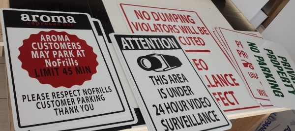 Custom parking signs variance.