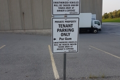 Custom free standing parking sign with metal post and plate