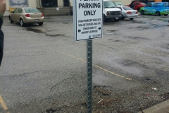 Permit parking only signs on u channel post