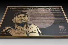 Bronze raised plaque with printed background