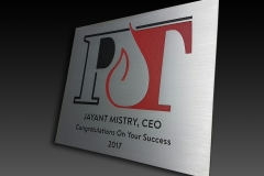 Ecthed aluminium plaque with multi colors