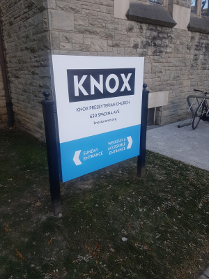 Aluminium ground sign Knox church