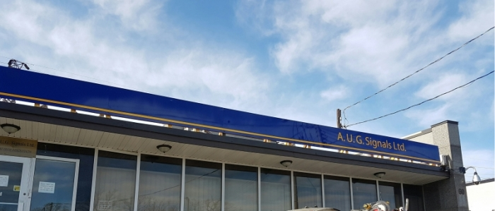 Gloss custom blue aluminium with graphics roof sign