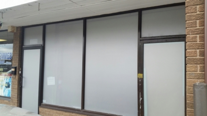 Frosted vinyl on glass windows