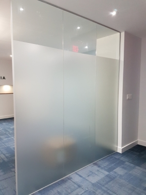Main entrance frosted vinyl glass wall